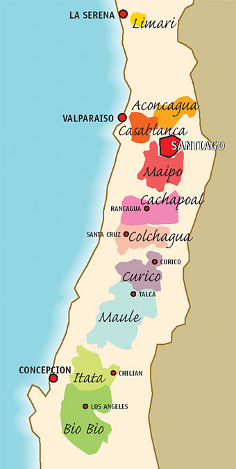 CHILE MAPA DO VINHO