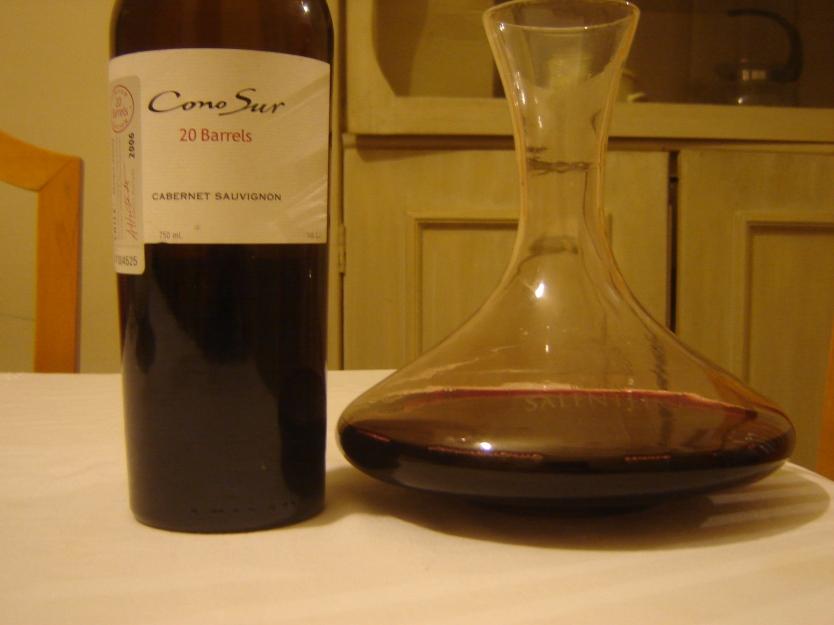 serviço do vinho decanter